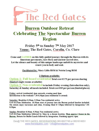 Burren Outdoor Retreat - Celebrating The Spectacular Burren Region - May 2017 Poster